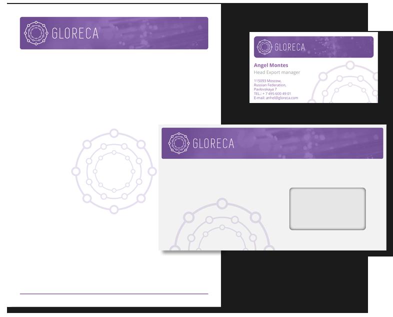 Разработка логотипа и фирменного стиля для компании Gloreca портфолио