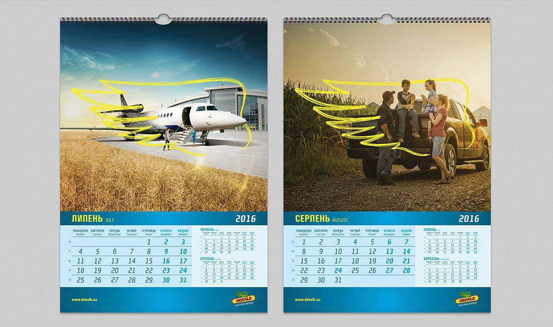 Creative idea and graphic design for wall calendar portfolio