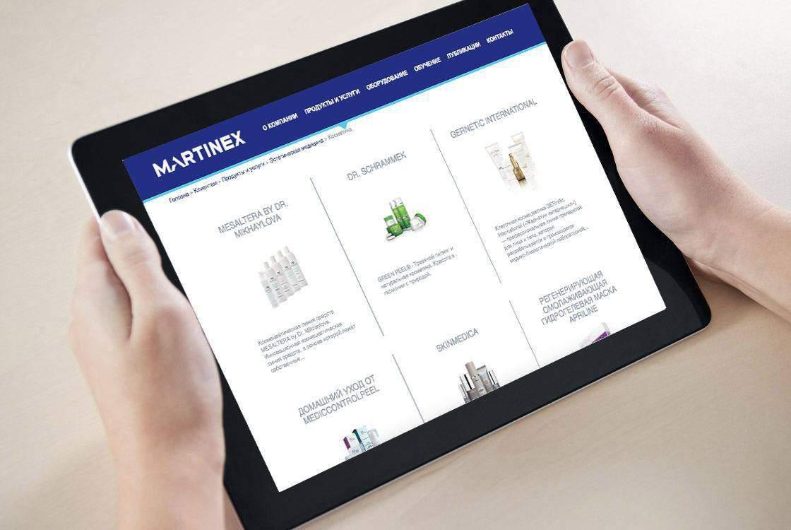 Corporate website for Martinex group portfolio