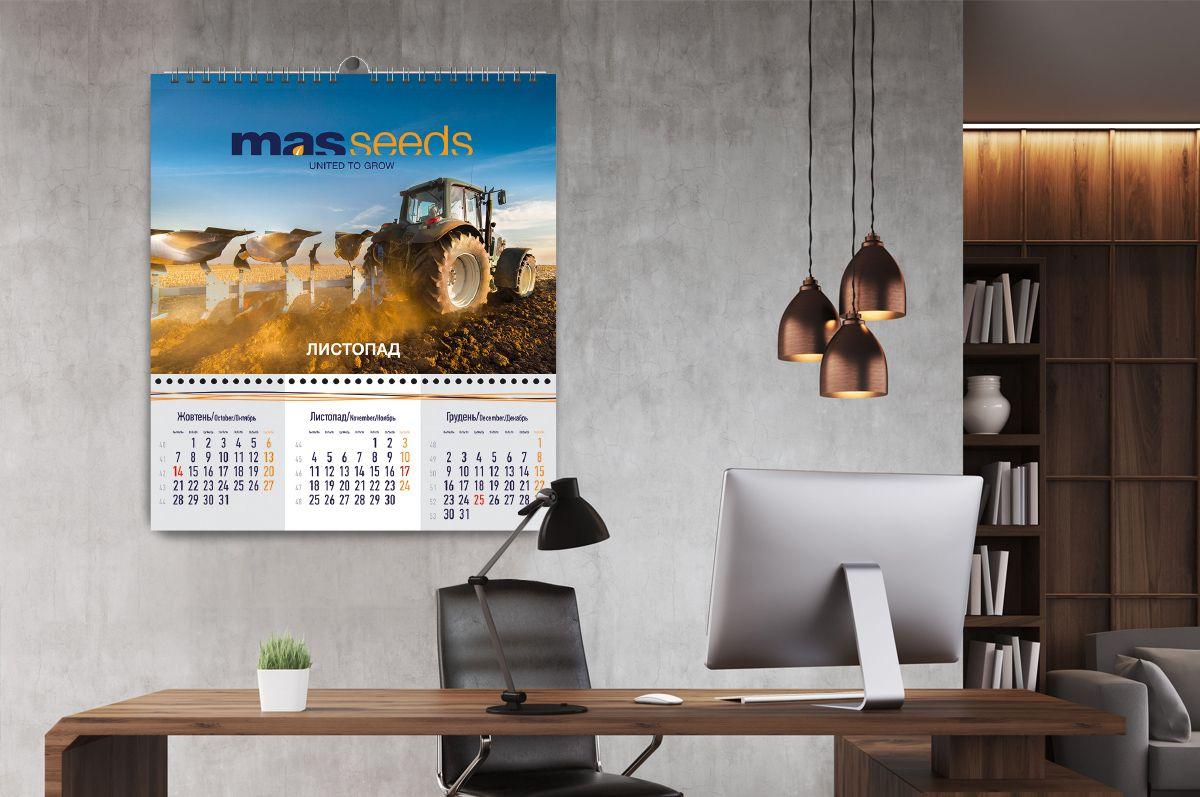 Разработка дизайна настенного календаря на 2019 год для компании Mas Seeds Украина портфолио